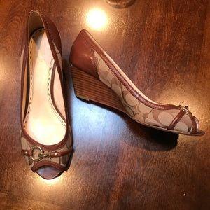 Coach peep toe wedge